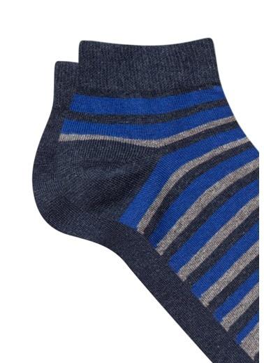 Mavi Çizgili Mavi Patik Çorap Mavi